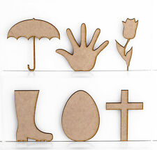 Wooden MDF Craft Shapes 3mm Thick Ribbon Banner Bow Tulip Flower Egg Cross Hand