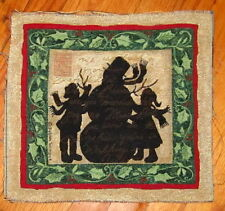 Christmas Snowman & Children In Silhouette Tapestry Pillow Top Fabric Piece