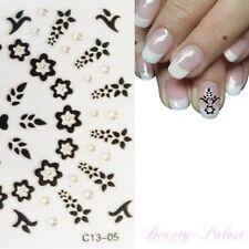 Nagel Sticker Blume Nailart Tattoo Aufkleber Nailsticker Fußnägel Schwarz C1305