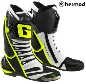 Gaerne GP1 EVO Race Sports Motorcycle Motorbike Boots - White/Yellow