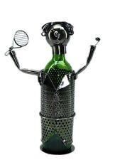 NEW! Tennis Player Raquet Silver Wine Bottle Holder Metal Birthday Gift zb600
