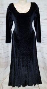 VTG 90's Reggio 10 Dress Back Long Maxi Animal Print Circle Velvet Leppard Full