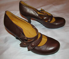 JEFFREY CAMPBELL IBIZA LAST TRIPLE front straps brown steampunk mary jane shoes