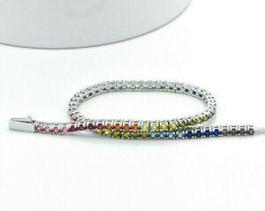 925 Sterling Silver Rainbow MultiColor Princes Sapphire Tennis 7.25-in Bracelet