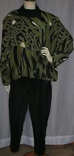 VTG CHANTIX 16/18 50+ BUST GREEN & BLACK HAND CRAFTED SILK TUNIC & PANT SUIT