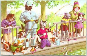 Artist-Signed ALFRED MAINZER Postcard Cats Fishing BUFFALO GROVE MALL Ill. 1973