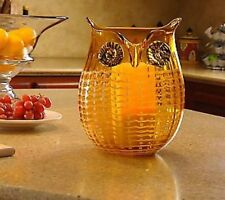 QVC Home Reflections Owl Glass Hurricane with Flameless Candle and Timer - Amber