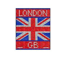 London GB Mosaico Adesivo Decalcomania Grafica in Vinile Label