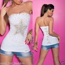 sexy a fascia bianca top con borchiato stella UK 8/10 EU 36/38 S/M