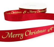 """5 Yds SALE Christmas Red Gold Merry Christmas Holly Satin Like Ribbon 7/8""""W"""