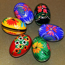 6 POLISH EGGS - PYSANKY WOODEN EASTER HAND PAINTED EGG