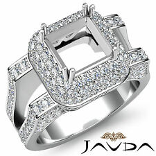 Halo Pave Diamond Engagement Filigree Ring 1.75Ct 14k W Gold Princess Semi Mount