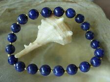 Lapislazuli Armband Bracelet 19,5 cm mit 8 mm Lapislazuli Perlen 2 mm goldf.