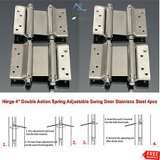 "Hinge 4"" Double Action Spring Adjustable Swing Door Stainless Steel Bar Cafe 4pc"