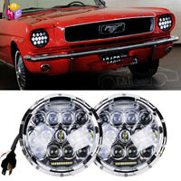 """DOT Chrome 7"""" Round LED Headlights Hi/Lo Beam For Ford Mustang 1965-1978"""