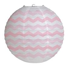 "12"" Classic Pink Chevron ZigZag Party Round Paper Wire Ball Lantern Decoration"