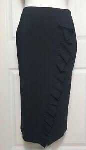 Zara Woman Black Ruffled Slit Pencil Midi Skirt Size M - BNWT