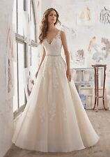 MORI LEE BRIDAL GOWN #5510 IVORY ORGANZA WEDDING DRESS A-LINE BEADED 8