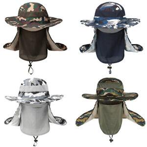 Men Camouflage Fisherman Hat Outdoor Sun Protection Casual Wide Brim Bucket Cap