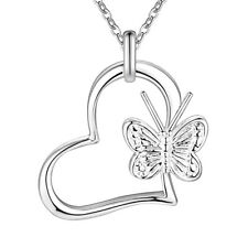 Heart Pendant Necklace Chain Jewelry Gift. 925 Silver Women Girls Cute Butterfly