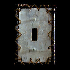 Real Birch Bark Rustic SingleToggle switch plate cover hand-sewn UL approved.