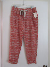 Free People  $98 Relax  Loose Fitting Tie Linnen blend Ankle Pants Size 8 -NWT
