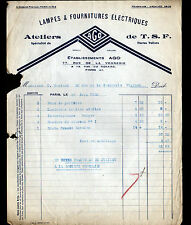 """PARIS (IV°) ATELIER RADIO T.S.F. & FOURNITURES LAMPES """"AGO"""" en 1929"""