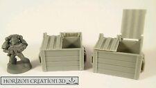HC3D -Terra Terrain Dumpster 2 Pack- Wargames Miniatures Scenery 40k 28m 15mm
