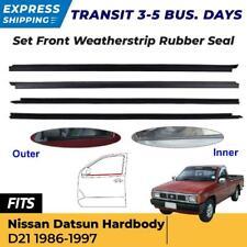 Lh+Rh Door Glass Seals Rubber Strip Outer Inner For Nissan D21 Pickup 1986-97 Ex