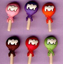 RAINBOW POPS - Candy Sweet Shop Lollipop Lolly Novelty Dress It Up Craft Buttons