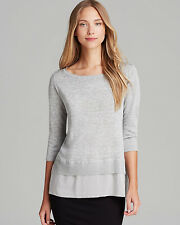 Eileen Fisher New Linen Viscose with Sheer Silk Hem Dark Pearl XL $198