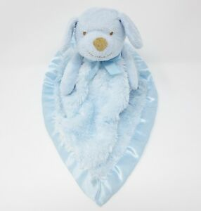Blankets Beyond blue satin fleece puppy dog nunu comforter doudou blankie lovey