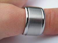 STAINLESS STEEL WIDE SILVER MATT TONE RING MEN'S LADIES
