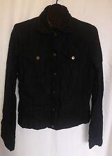 TALL GIRL Brand Size Small Black Button Down Shirt 100% Linen Jacket Pockets
