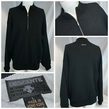 Descente Ski Sweater L Men Black Wool Acrylic ¼ Zip Poly Wind Lined YGI D0-174