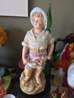 "Antique German Porcelain Bisque 16.5"" Statue Boy Figure W Fish Lobster Basket"