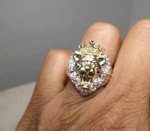10K Yellow Gold Canary Round Diamond Majestic Lion Head King Crown Men's Ring