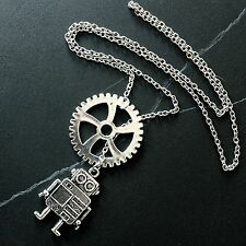 Silver Gear Robot Steampunk Lariat Y Necklace--Stainless Steel Oval Cable Chain