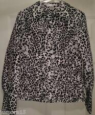 W.D.N.Y NWT Woman's Black/White Leopard Print Button Down Shirt Size 10