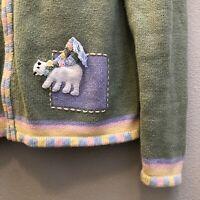Breckenridge Christmas Sweater Size Medium Polar Bear Winter Fringe Scarf Pastel