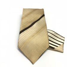 Henri Picard Men's Tie Hanky Set Brown Beige Gold Cream Hand Made 100% Silk