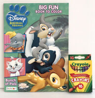2 Piece Set 5 Disney Animals Jumbo Coloring & Activity Book Crayons Zimba Bambi