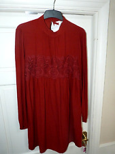 Ladies Rust H&M Long Sleeve Shift Dress Size 14