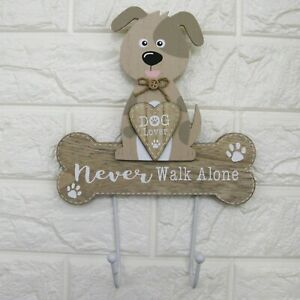 Dog Lead Hook Twin Hooks Wall Mounted Never Walk Alone Dog Lover Gift