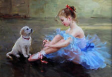 YA1066 100% hand-painted oil painting on canvas Little Girl and dog Unframed 36""