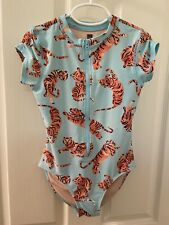 Tea Collection Tiger Printed Rash Guard One-Piece Swimsuit Blue Girls Size 8