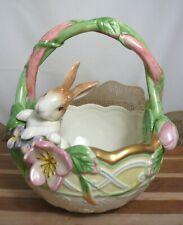 Fitz & Floyd Classics Ceramic Bunny Rabbit in Basket w/ Dimensional Flowers