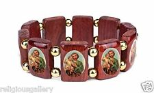 St Saint Joseph Bracelet in Large Cherry Wood Tiles, Catholic & Stretchable, New
