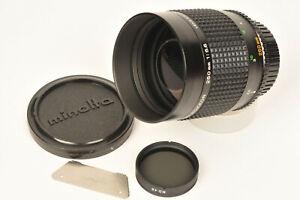 Minolta RF Rokkor 250mm f/5.6 Catadioptric Lens with Caps Hood & Filters