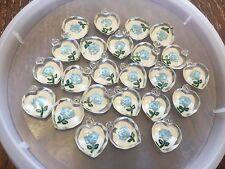 Vintage Blue Painted Intaglio Flower Clear Lucite Heart Charm Lot